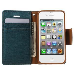 Canvas PU kožené/textilní pouzdro na iPhone 4 - zelenomodré - 6