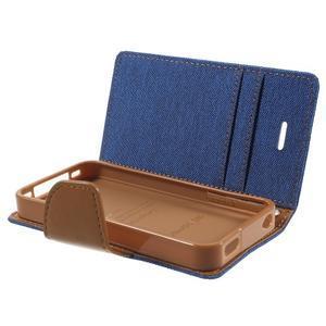 Canvas PU kožené/textilné puzdro pre iPhone 4 - modré - 6