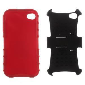 Outdoor odolný obal pre mobil iPhone 4 - červený - 6