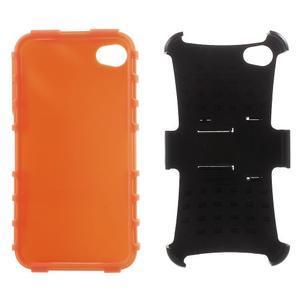 Outdoor odolný obal pre mobil iPhone 4 - oranžový - 6