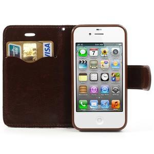 Elegantní PU kožené pouzdro na iPhone 4 - černé pozadí - 6