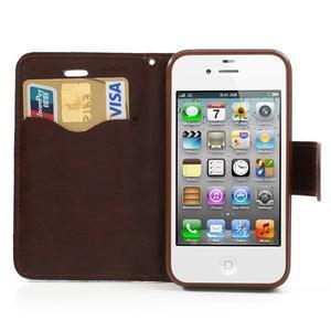 Elegantné PU kožené puzdro pre iPhone 4 - modré pozadí - 6