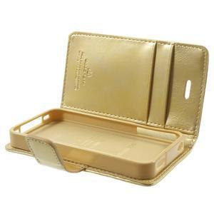 Moon PU kožené puzdro pre mobil iPhone 4 - zlaté - 6