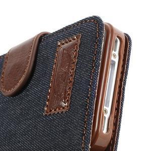 Jeans peňaženkové puzdro pre iPhone 4 - čiernomodré - 6