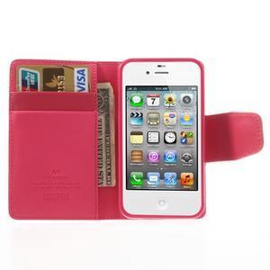 Diary PU kožené knížkové pouzdro na iPhone 4 - rose - 6