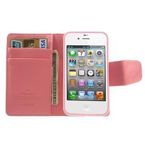 Diary PU kožené knížkové puzdro pre iPhone 4 - ružové - 6