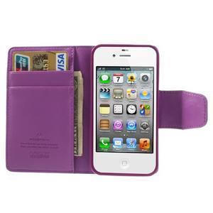 Diary PU kožené knížkové puzdro pre iPhone 4 - fialové - 6