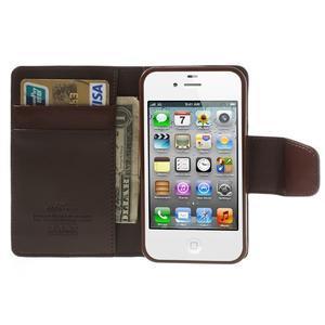 Diary PU kožené knížkové pouzdro na iPhone 4 - tmavěhnědé - 6