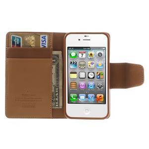 Diary PU kožené knížkové puzdro pre iPhone 4 - hnedé - 6