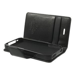 Diary PU kožené knížkové puzdro pre iPhone 4 - čierne - 6