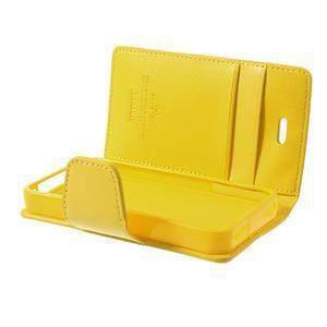 Diary PU kožené knížkové puzdro pre iPhone 4 - žlté - 6