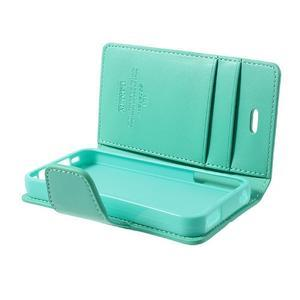 Diary PU kožené knížkové puzdro pre iPhone 4 - azurové - 6