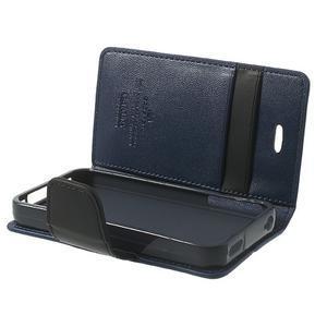Diary PU kožené knížkové pouzdro na iPhone 4 - tmavěmodré - 6