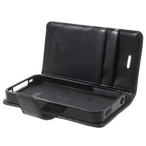 Moon PU kožené puzdro pre mobil iPhone 4 - čierne - 6