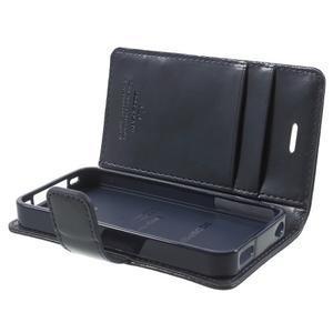 Moon PU kožené pouzdro na mobil iPhone 4 - tmavěmodré - 6