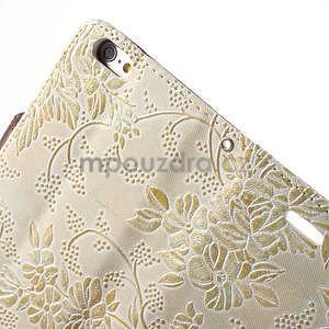Elegantné kvetinové peňaženkové puzdro na iPhone 6 a 6s - biele - 6