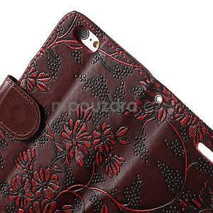 Elegantné kvetinové peňaženkové puzdro na iPhone 6 a 6s - červenohnedá - 6