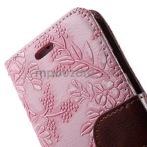Elegantné kvetinové peňaženkové puzdro pre iPhone 6 a 6s - ružové - 6