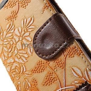 Elegantné kvetinové peňaženkové puzdro na iPhone 6 a 6s - oranžové - 6