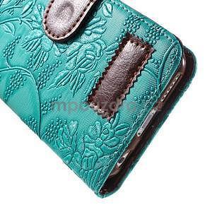 Elegantné kvetinové peňaženkové puzdro pre iPhone 6 a 6s - tyrkysové - 6