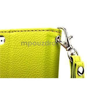 PU kožené peňaženkové puzdro pre iPhone 6s a 6 - zelene - 6
