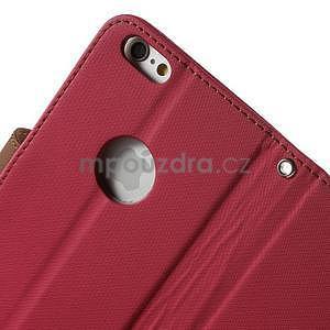 Peňaženkové koženkové puzdro pre iPhone 6s a 6 - rose - 6