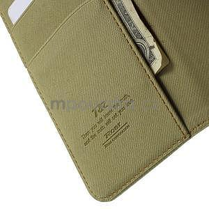 Peňaženkové koženkové puzdro na iPhone 6s a 6 - khaki - 6