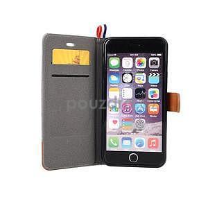 Látkové / koženkové peňaženkové puzdro pre iphone 6s a 6 - sivé - 6