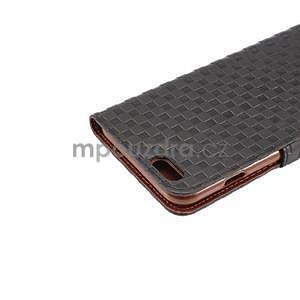 Mriežkovaného koženkové puzdro pre iPhone 6 a iPhone 6s - čierne - 6