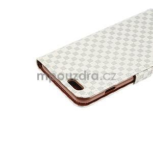 Mriežkovaného koženkové puzdro pre iPhone 6 a iPhone 6s - biele - 6