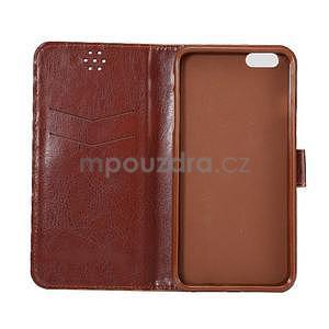 Mriežkovaného koženkové puzdro pre iPhone 6 a iPhone 6s - červené - 6