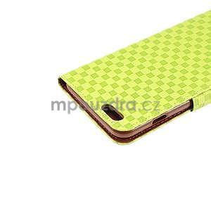 Mriežkovaného koženkové puzdro na iPhone 6 a iPhone 6s - zelené - 6
