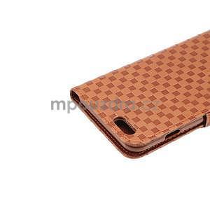 Mriežkovaného koženkové puzdro na iPhone 6 a iPhone 6s - hnedé - 6