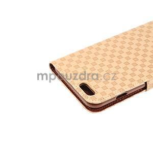 Mriežkovaného koženkové puzdro pre iPhone 6 a iPhone 6s - béžové - 6
