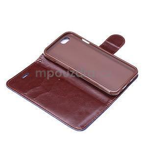 Jeans látkové/pu kožené peňaženkové puzdro na iPhone 6 a 6s - tmavomodré - 6