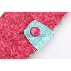 Dvojfarebné peňaženkové puzdro pre iPhone 6 a iPhone 6s - rose/cyan - 6