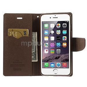 Peňaženkové puzdro pre iPhone 6 Plus a 6s Plus -  čierne/hnedé - 6
