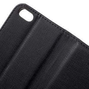 Cloth PU kožené puzdro pre iPhone SE / 5s / 5 - čierne - 6
