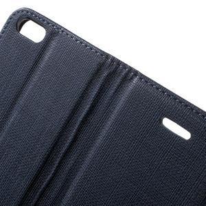 Cloth PU kožené pouzdro na iPhone SE / 5s / 5 - tmavěmodré - 6