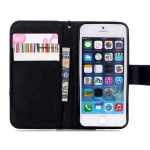 Peňaženkové puzdro pre mobil iPhone SE / 5s / 5 - dievča s kvetinou - 6