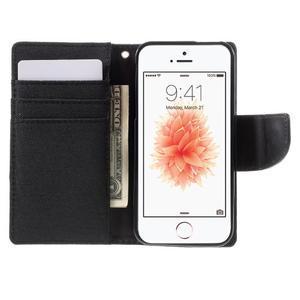 Canvas PU kožené/textilní pouzdro na mobil iPhone SE / 5s / 5 - černé - 6