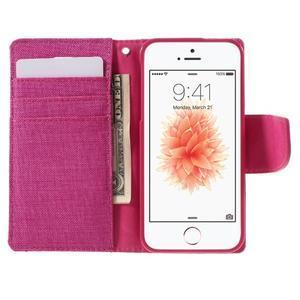 Canvas PU kožené/textilní pouzdro na mobil iPhone SE / 5s / 5 - rose - 6