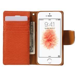 Canvas PU kožené/textilní pouzdro na mobil iPhone SE / 5s / 5 - oranžové - 6