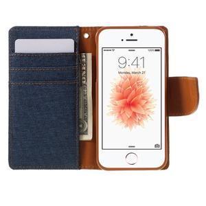 Canvas PU kožené/textilné puzdro pre mobil iPhone SE / 5s / 5 - tmavomodré - 6