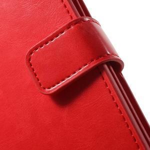 Extrarich PU kožené puzdro pre iPhone SE / 5s / 5 - červené - 6