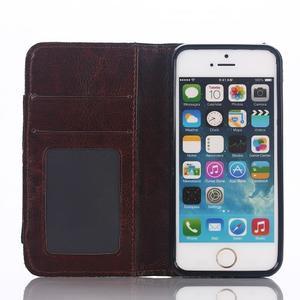 Jeans peňaženkové puzdro pre mobil iPhone SE / 5s / 5 - čiernomodré - 6
