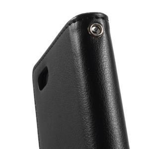 Rich diary PU kožené pouzdro na iPhone SE / 5s / 5 - černé - 6