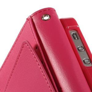 Rich diary PU kožené puzdro pre iPhone SE / 5s / 5 - ružové - 6