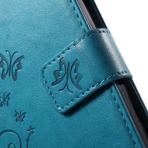 Buttefly PU kožené pouzdro na mobil LG Leon - modré - 6
