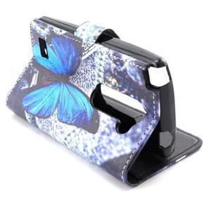 Style peňaženkové puzdro pre LG Leon - modrý motýľ - 6